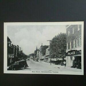 CHRISTIANBURG, VA * MAIN STREET * VINTAGE c 1940s  LITHOGRAPH