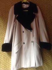 Wallis Beige Faux Fur Trimmed Double Breasted Coat Size 10