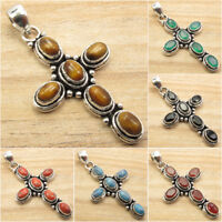 925 Silver Plated ETHNIC CROSS Pendant ! Vintage Style Jewelry Store
