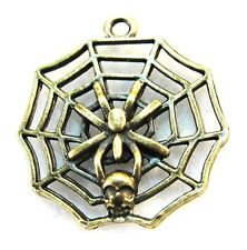 25Pcs. Wholesale Tibetan Bronze Halloween Spider Web Skull Charms Pendants Q1253