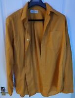 """M&S Vintage 1990s St Michael Cotton Orange Men's Shirt. XL. 44-46"""" Chest 2 Tone"""