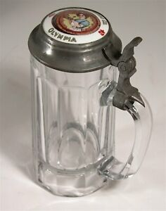 1910s PILSEN BREWING COMPANY OF CHICAGO ADVERTISING LIDDED GLASS STEIN BEER MUG