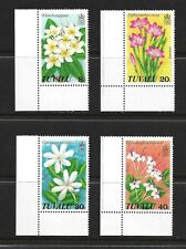 TUVALU COMPLETE CORNER STAMP SET W MARGINS SCOTT #92 - 95 MNH FRESH 1978 FLOWERS