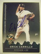 ERICK CARRILLO signed 2010 GREENSBORO baseball card AUTO CAL ST SAN BERNARDINO