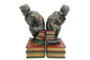 Bronzed Bookend Set Boy Sitting On Books In Rodin's The Thinker Pose Home Decor