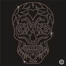 GOLD Skull Iron-On Rhinestone Diamante Hotfix Bling Gem Transfer Motif Applique