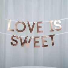 CANDY BAR BUNTING Buffet FLAGS GEO BLUSH Pink Rose Gold Wedding LOVE IS SWEET