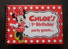 Personalised guest book A5 size Minnie Mouse theme in clear window box