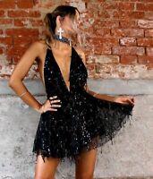 Mini Deep V-neck Dress Sequins Tassel Design Sexy Womens Party Dresses Club Wear
