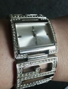 Ladies Guess Boxed Silver Colour Diamanté Watch With Spare Links