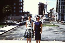 35mm slide STREET SCENE Women in Skirts on Main St Columbia SC Fashion Brunettes