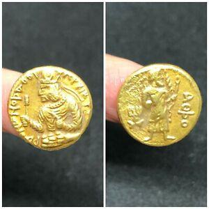 0.97g #22C gold bead The Body AX square 16k High Karat  Greek Roman Rare