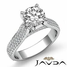 2.45ct Sparkling Round Diamond Engagement Ring GIA F Color VVS2 14k White Gold