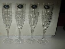 Ralph Lauren 6 Crystal Cocktail Party Champagne Flute Glasses NWT