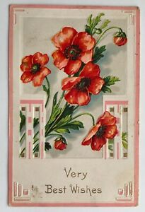 VERY BEST WISHES Embossed Floral Flowers Bogota, Illinois Postcard c.1911;J263