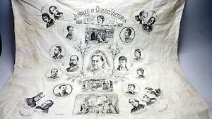 Queen Victoria Golden Jubilee 1837-1887 cotton handkerchief 23 inches.