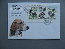 SWEDEN, cover FDC 1989, S/S dogs
