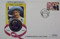 GB QEII  PNC COIN COVER 95TH BIRTHDAY THE QUEEN MOTHER ISLE OF MAN 1 CROWN