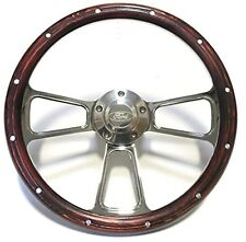 1967 to 1974 Ford Bronco Real Wood & Chrome Steering Wheel Full Install Kit