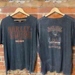 VINTAGE MENS HARLEY DAVIDSON S/S T-SHIRT SIZE L XL GREY ACID WASH BIKER (hd61)
