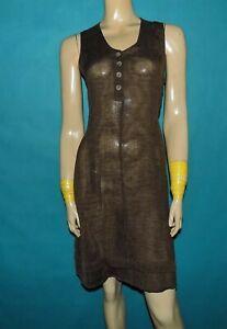 CREA CONCEPT robe 90% lin marron Taille : 38 TRES BON ETAT