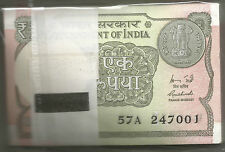 1 One Rupee 100 Serial Note Bundle 2015 ★ Rajiv MAHESHWARI ★ GEM UNC ★ UNC