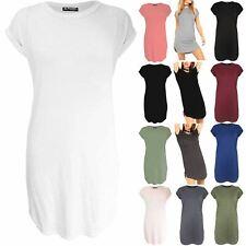 Womens Plain Curved Hem Baggy Ladies Side Slit Round Neck Oversized Mini Dress