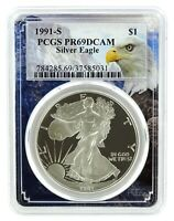 1991 S 1oz Silver Eagle Proof PCGS PR69 DCAM - Eagle Frame