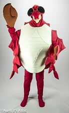 Crab Mascot Costume Quality 6 Pc Red & White  Body Shirt Leggings Mitts Hood Lg