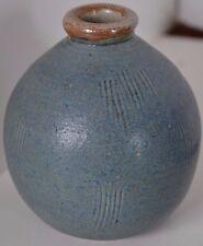 Handmade Buck Pottery 2005 Gruene Texas Blue Pot Vase Signed