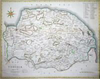 1789 Original Large Antique Map - NORFOLK by John Cary hand coloured (LM8)