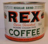 Vintage 1950s REX COFFEE GRAPHIC KEYWIND COFFEE TIN 1 POUND TERRE HAUTE INDIANA