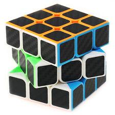 3x3x3 Speed Magic Cube Ultra-smooth Carbon Fiber Sticker Rubik Puzzle Twist NEW