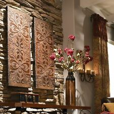 """TWO STATELY 41"""" ANTIQUED BROWN GOLD ACCENTS DECORATIVE WALL ART PANELS TUSCAN"""