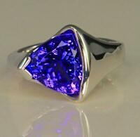 925 Sterling Silver Natural Trillion Cut Tanzanite Gemstone Handmade Ring