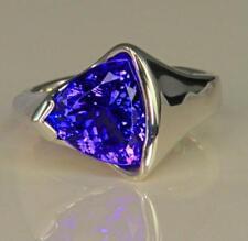 925 Sterling Silver Natural Trillion Cut Tanzanite Gemstone Handmade Ring