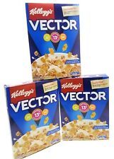 3 Boxes KELLOGGS VECTOR Meal Replacement Cereal, Flakes & Honey Granola, 14.1oz