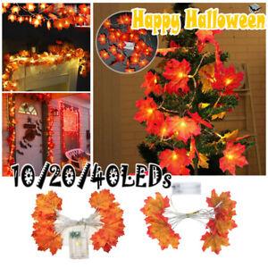 10/20/40 LED Ahornblätter Herbst Girlande Lichterkette Halloween Dekor