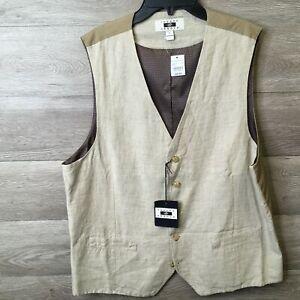 Joseph Abboud Mens Large Taupe Sleeveless Vest Suit NWT