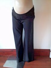 BM MATERNITY SMART CHARCOAL GREY UNDER BUMP WIDE LEG WORK TROUSERS SIZE 12 BNWT