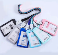 Waterproof ID Badge Holder Hard Plastic Card Case Slim Lanyard Protector