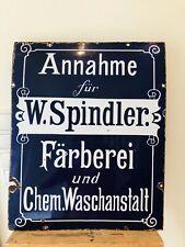 emailschild Original Färberei Waschanstalt Spindler Jugendstil