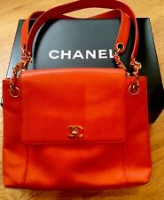 Rare CHANEL Bright Orange With Gold CC & Chain Classic Shoulder Hand Bag