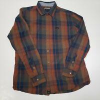 RCVA Men's XL Long Sleeve Plaid Brown Blue Button Up Dress Shirt