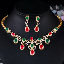 Luxury Green Red CZ Bridal Wedding Oval Necklace Earrings Dubai Gold Jewelry Set