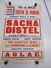 Affiche Concert Originale: SACHA DISTEL , NICE 1961 / 1962