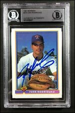 IVAN RODRIGUEZ AUTOGRAPHED 1991 BOWMAN ROOKIE CARD RC #272 BECKETT SLABBED