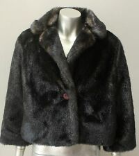 Mink Vegan Faux Fur Deco Cropped Glamour Cape Brown Jacket Coat Size M