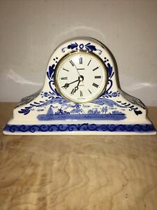 Clock Delft Blue Hand Painted Clock Very Nice Battery Movement