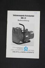 Alte DDR Bedienungsanleitung selbstsaugende Kreiselpumpe KRE 32